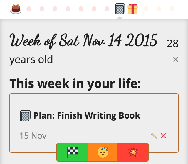 a Finish Writing Book plan now in the past, with options to mark done, snooze, or delete