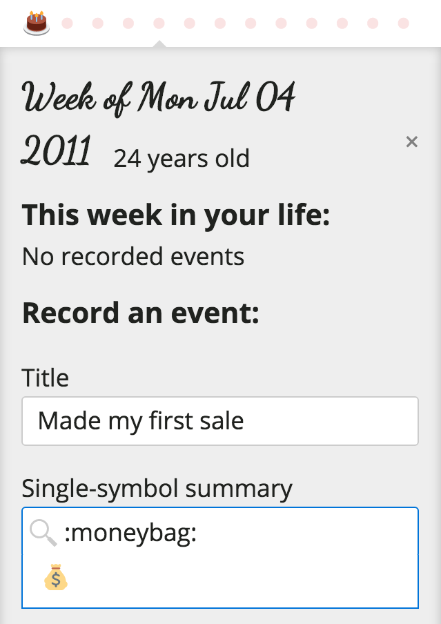 Entire.Life event creation form, with the event Made My First Sale being added