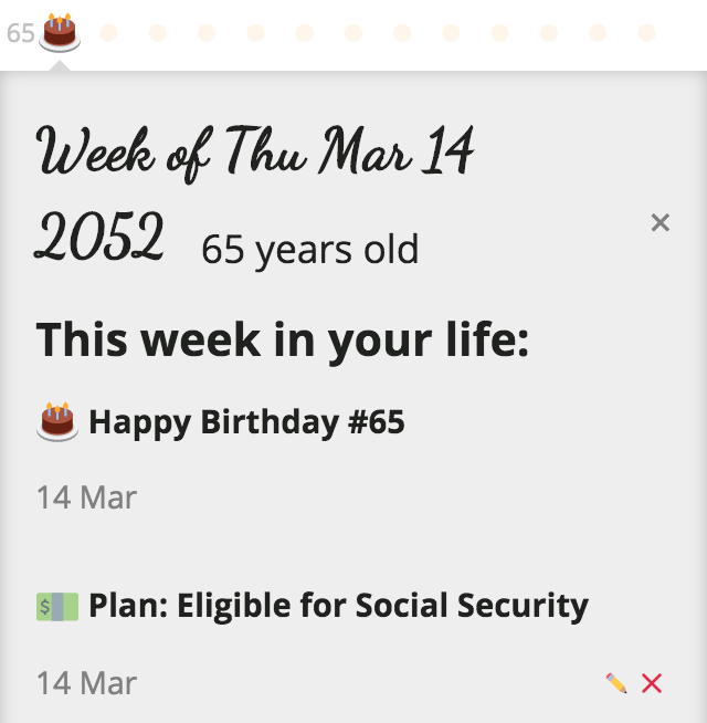 Entire.Life's week detail view showing a plan: Eligible For Social Security